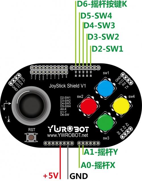 Arduino JoyStick Shield 遊戲搖桿擴展板