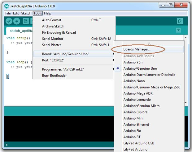 Where to Find the Arduino IDE Boards Manager Dialog
