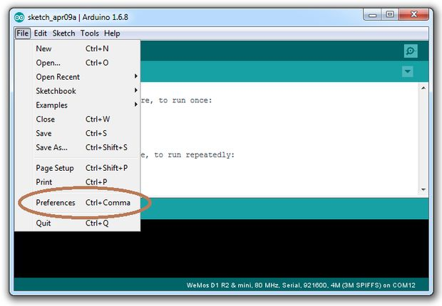 Where to Find the Arduino IDE Preferences Dialog