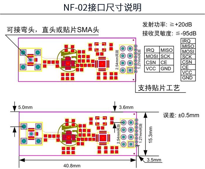 NRF24L01P+PA+LNA 2.4GHz ISM 加強型無線模組
