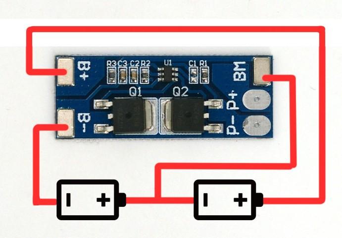 2串 7.4V 聚合物鋰電池組保護板