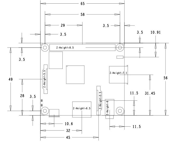 Raspberry Pi 3模型A +(E14)尺寸圖