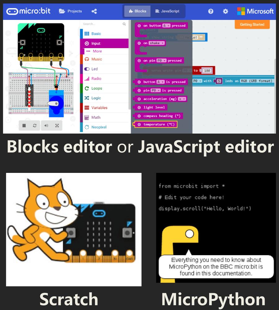 程序Max:Bot with Scratch,MakeCode塊編輯器,Python或JavaScript