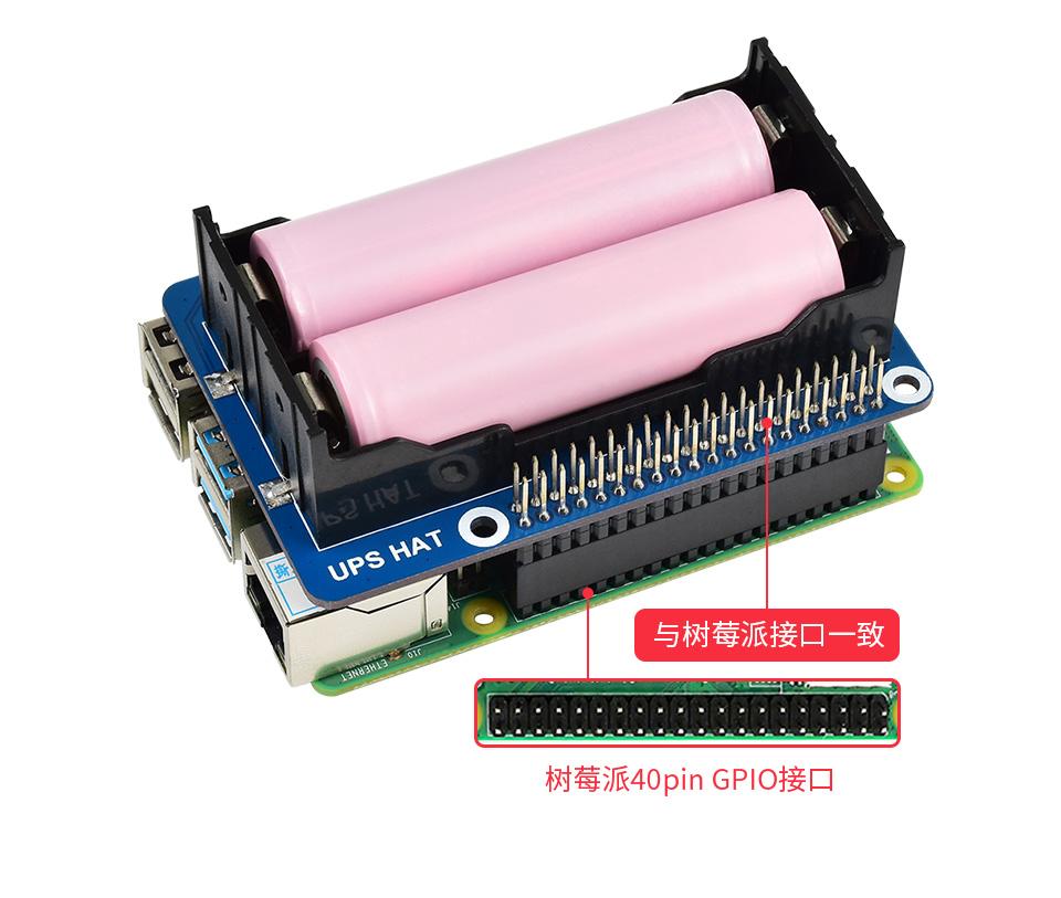 樹莓派不間斷電源(UPS)模塊接入Raspberry Pi圖示