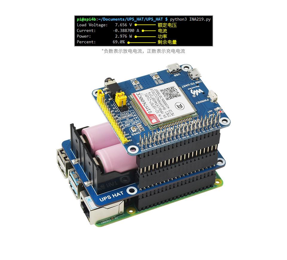 樹莓派不間斷電源(UPS)模塊實時檢測模塊工作狀態